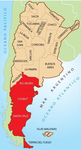 Resultado de imagen para mapa patagonia argentina