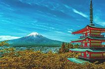 Imagen de pagoda en Japón con Monte Fuji a lo lejos