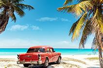 Foto de auto cubano y playa