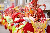 Imagen de danza y máscaras típicas de Perú