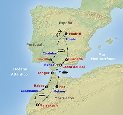 Mapa recorrido Andalucía y MArruecos con Madrid