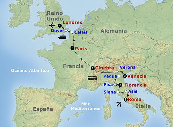 itinerario de la salida grupal a Italia all'alba con París y Londres.