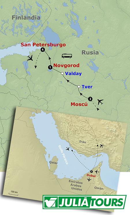 Mapa del recorrido Dubay y lo mejor de Rusia