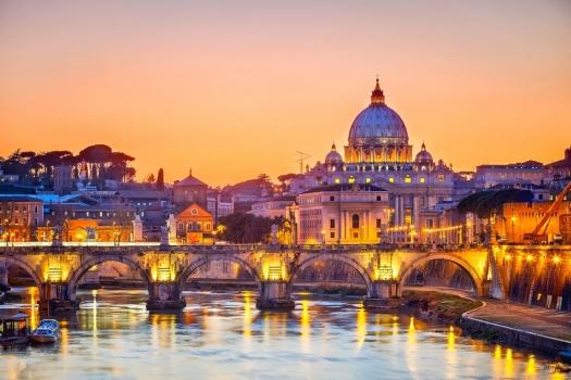 Vista del Vaticano al atardecer