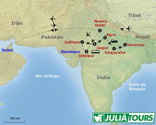 Recorrido del viaje INDIA CON FESTIVAL DE COLORES