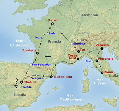 Mapa itinerario Europa Soñada 2017